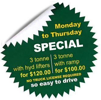 a b truck rentals monday to thursday special