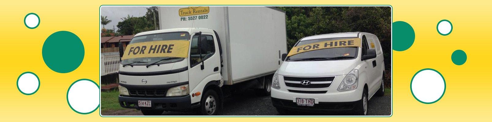 a b truck rentals trucks parked on road