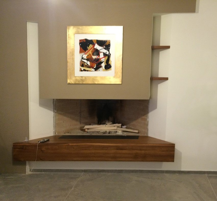 piano del camino in legno