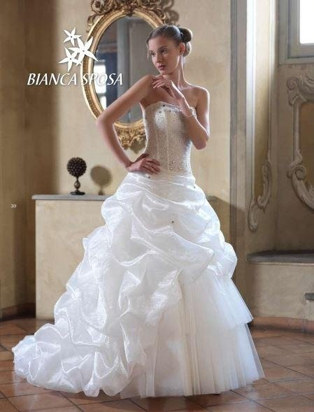 Dress in organza and tulle bodice embroidered with rhinestones
