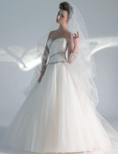 Dress in tulle and glitter iridescent organza bodice and rhinestone edges
