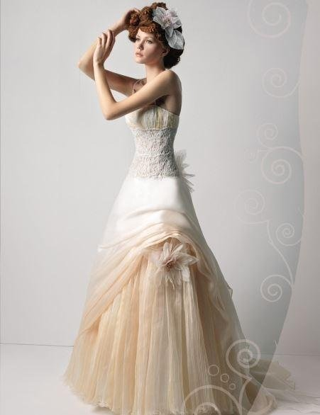 Dress little off in nuanced and embroidered bodice organza