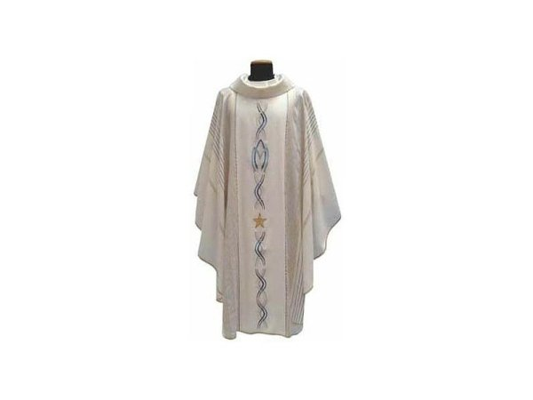 White Marian chasuble