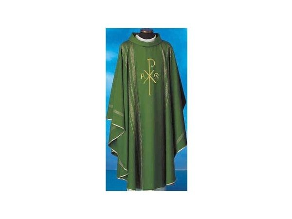 Chasubles in pure wool with green gold thread