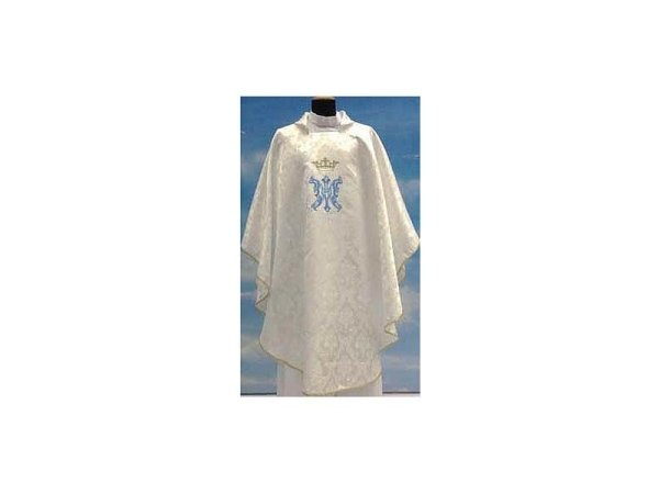 White damask fabric with embroidery