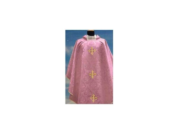 Damask fabric with pink embroidery