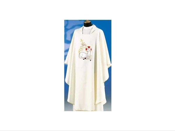 Embroidered chasuble white