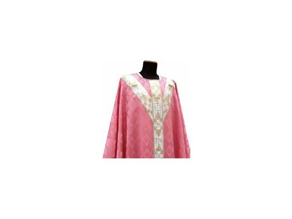 with embroidered strips on the front and back pink