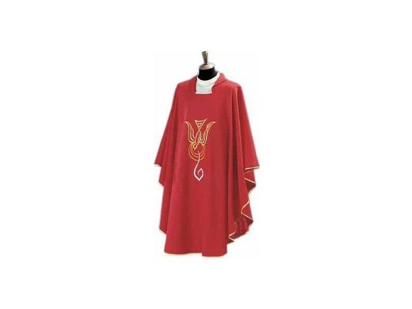Embroidered chasuble red