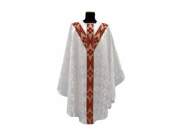 with embroidered strips on the front and back white