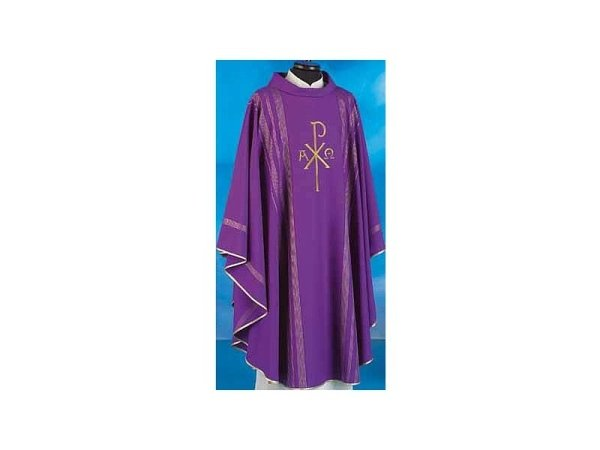 Chasubles in pure wool with purple gold thread