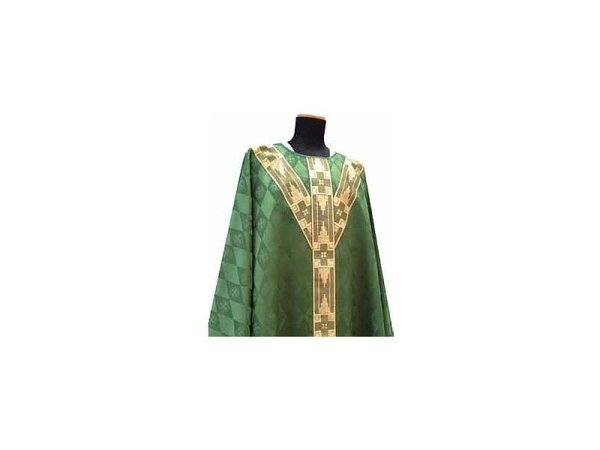 with embroidered strips on the front and back green