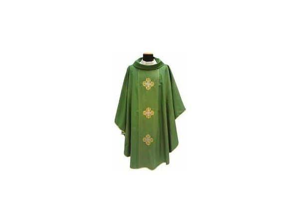 Green embroidered crosses