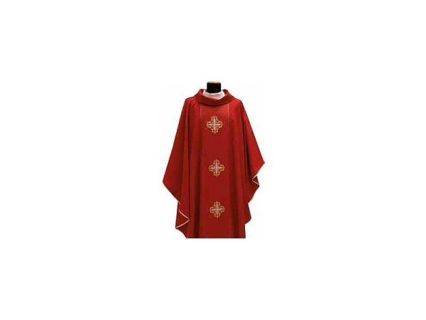 Red embroidered crosses