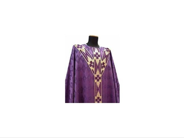 with embroidered strips on front and back purple