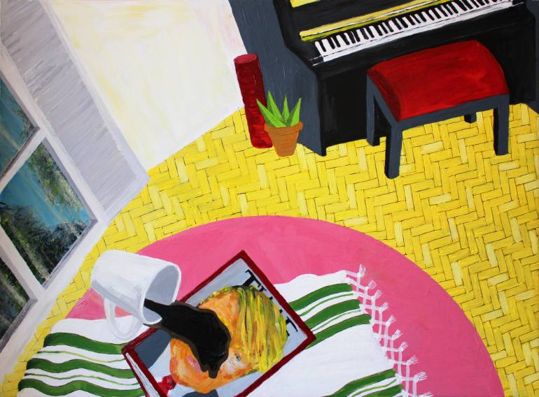 Bad News on Tuesday Morning Natalia Lewandowska © painting modern art @natalia.lewandowska.art @natalia.lew.andowska saatchi portfolio table pink yellow coffee flat London USA