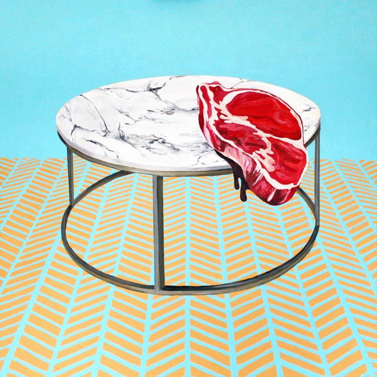Trump Steaks Natalia Lewandowska © painting modern art @natalia.lewandowska.art @natalia.lew.andowska saatchi portfolio marble tabletop meat parquet flooring blue background red white yellow meat on table