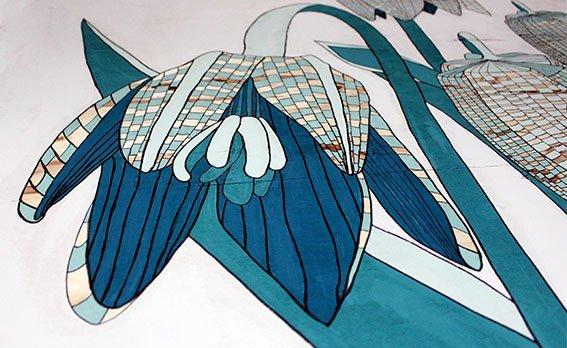 Trump Turnberry Natalia Lewandowska © Triptych painting @natalia.lewandowska.art @natalia.lew.andowska saatchi portfolio swimming pool water yellow kerb meat Trump Ice weeds black background yellow