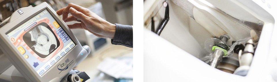 mano sta per toccare un computer touch screen e dispositivo per creare gli occhiali
