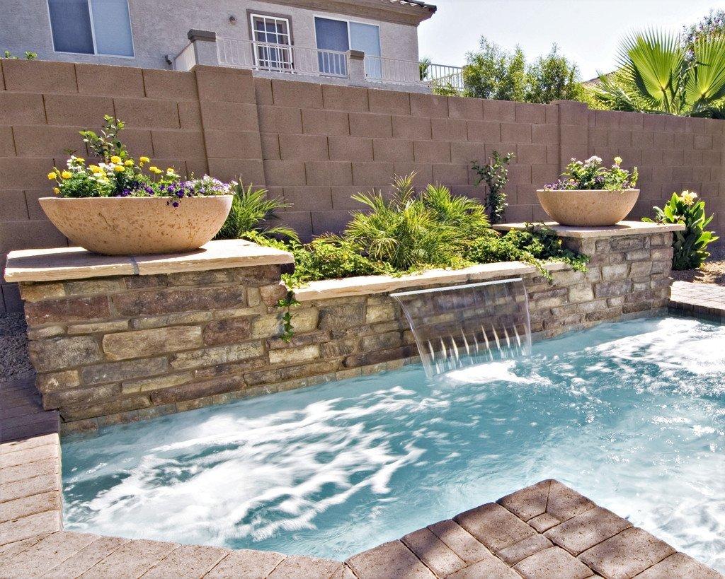 backyard fountain and pool