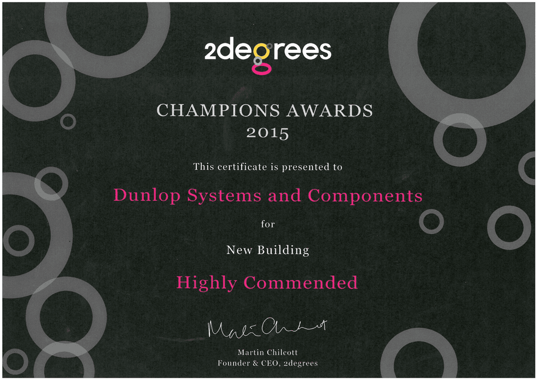Dunlop 2degrees Champions Award 2015