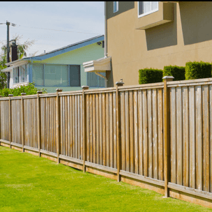Decorative wooden residential fence