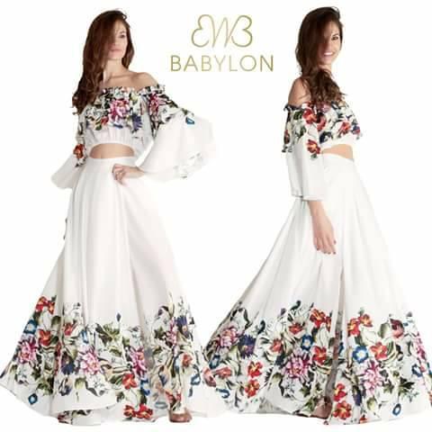 vestito lungo Babylon bianco e a fiori