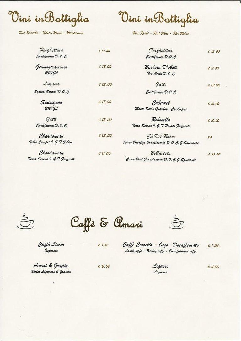 vini, caffè e amari