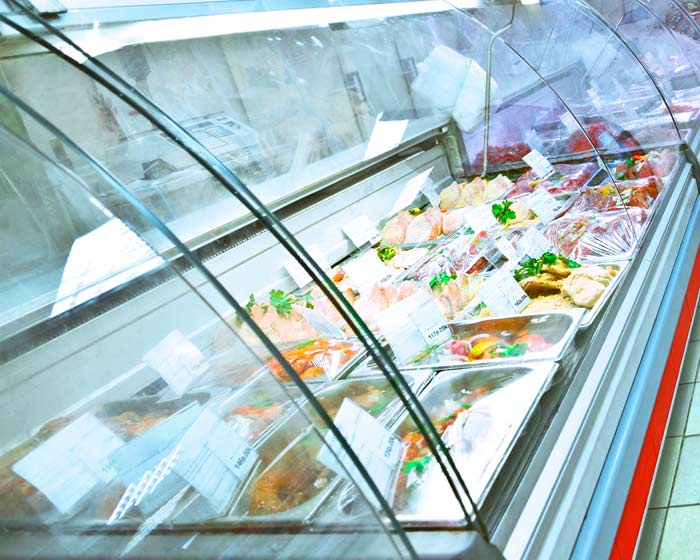 refrigerated case of food