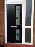 black glass door