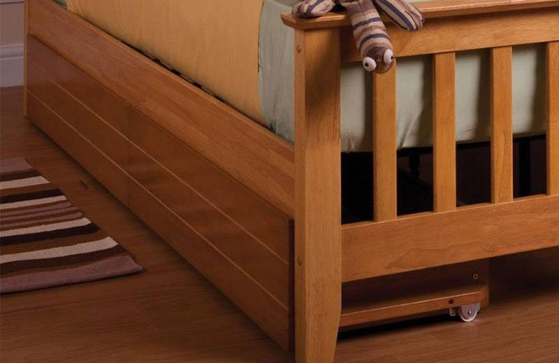 sturdy wooden bed