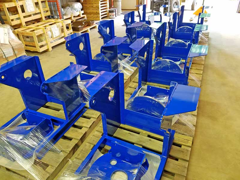 Model 1504 welding positioner frames powder coated prior to assembly