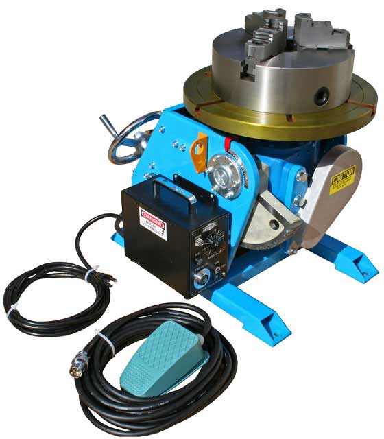 Model PS-2F welding positioner with optional MT 10 welding chuck