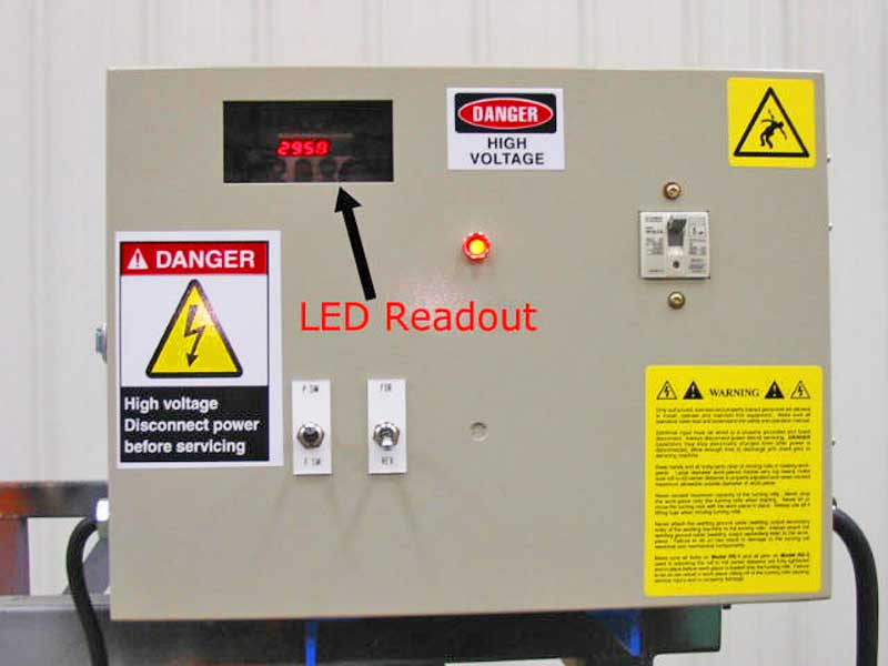LED readout for speed adjustment on RS-1-INB Turning Roll