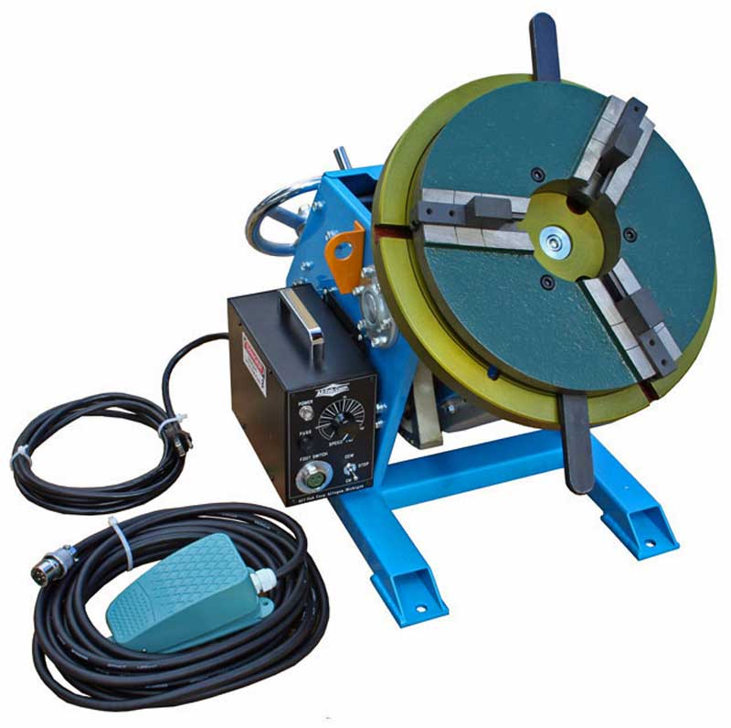 Model PS-2F welding positioner with optional WP-300 welding chuck
