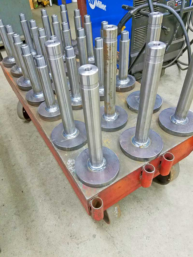 Model 1504 and PB2005 spindle shafts welded using Model PS-1F welding positioner