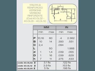Tabella con valori personalizzati per la macchina taglia, piega forma per componenti assiali