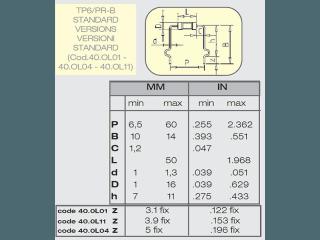 Tabella con valori standard per la macchina taglia, piega forma per componenti assiali.