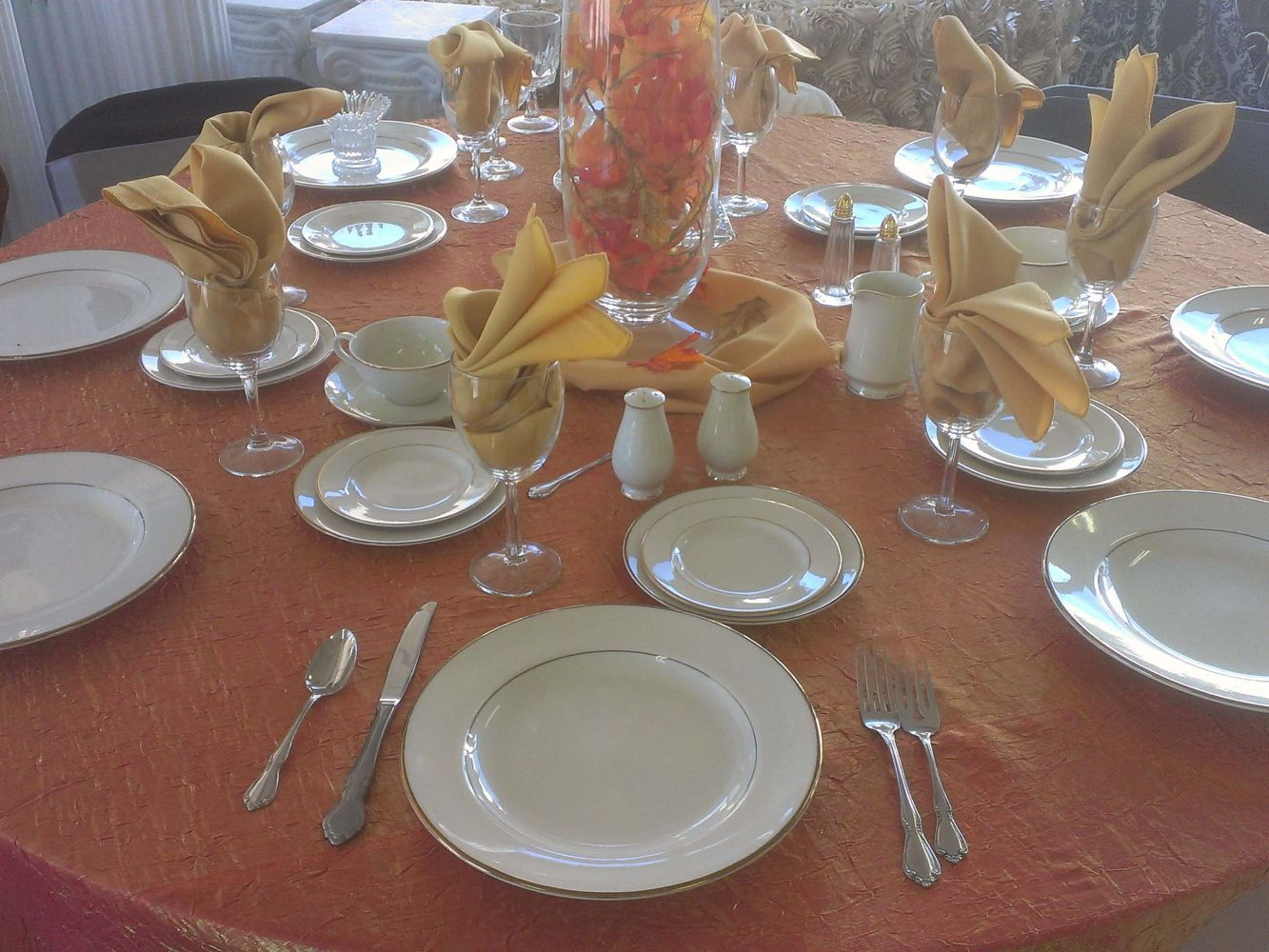 Dinnerware, Flatware, Stemware, Napkins and Linens