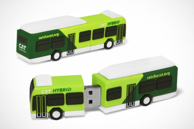 BUS SHAPE RUBBER USB דיסק און קי אוטובוס