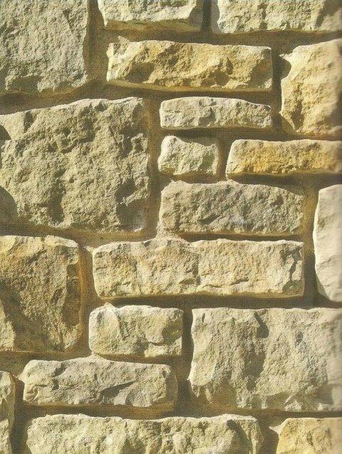 Parete in pietra con pietra a blocchi squadrati di varie dimensioni.