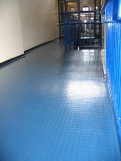 blue material flooring