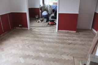 flooring specialist at work