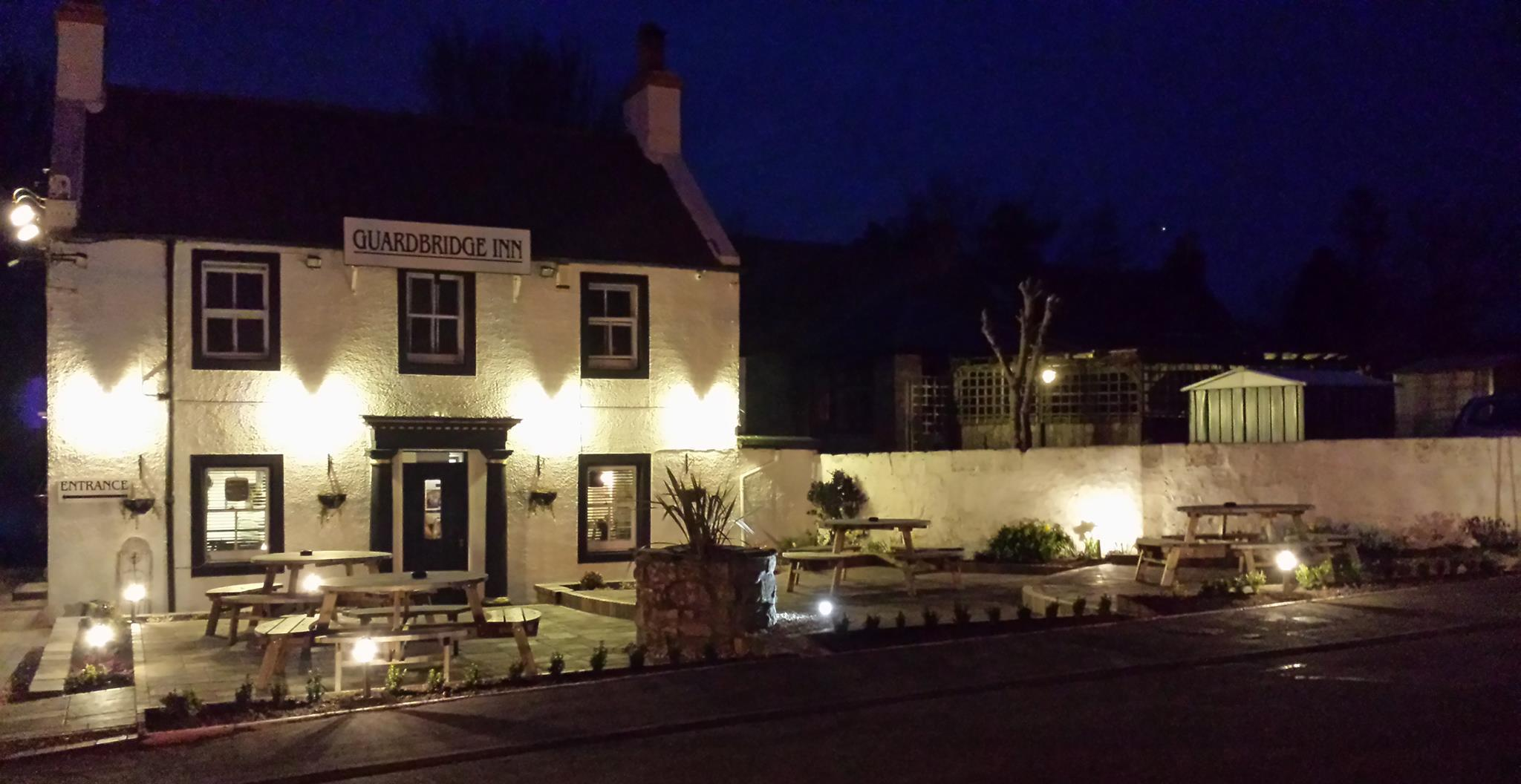 Exterior view of our inn at night