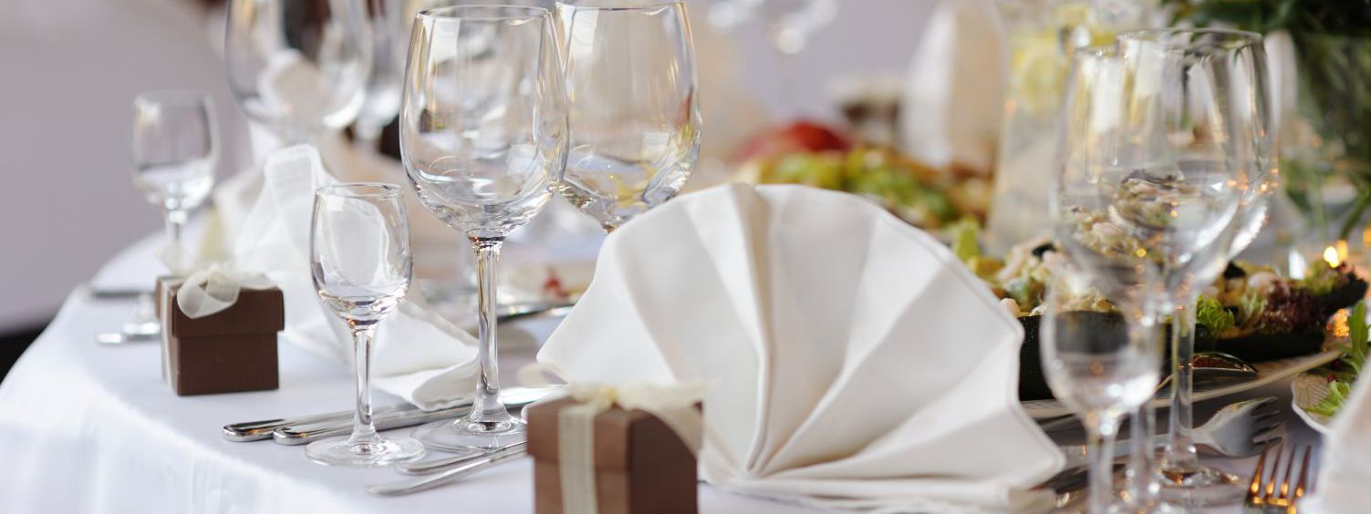 Table setting for catering service on a special occasion in Junction City, WI