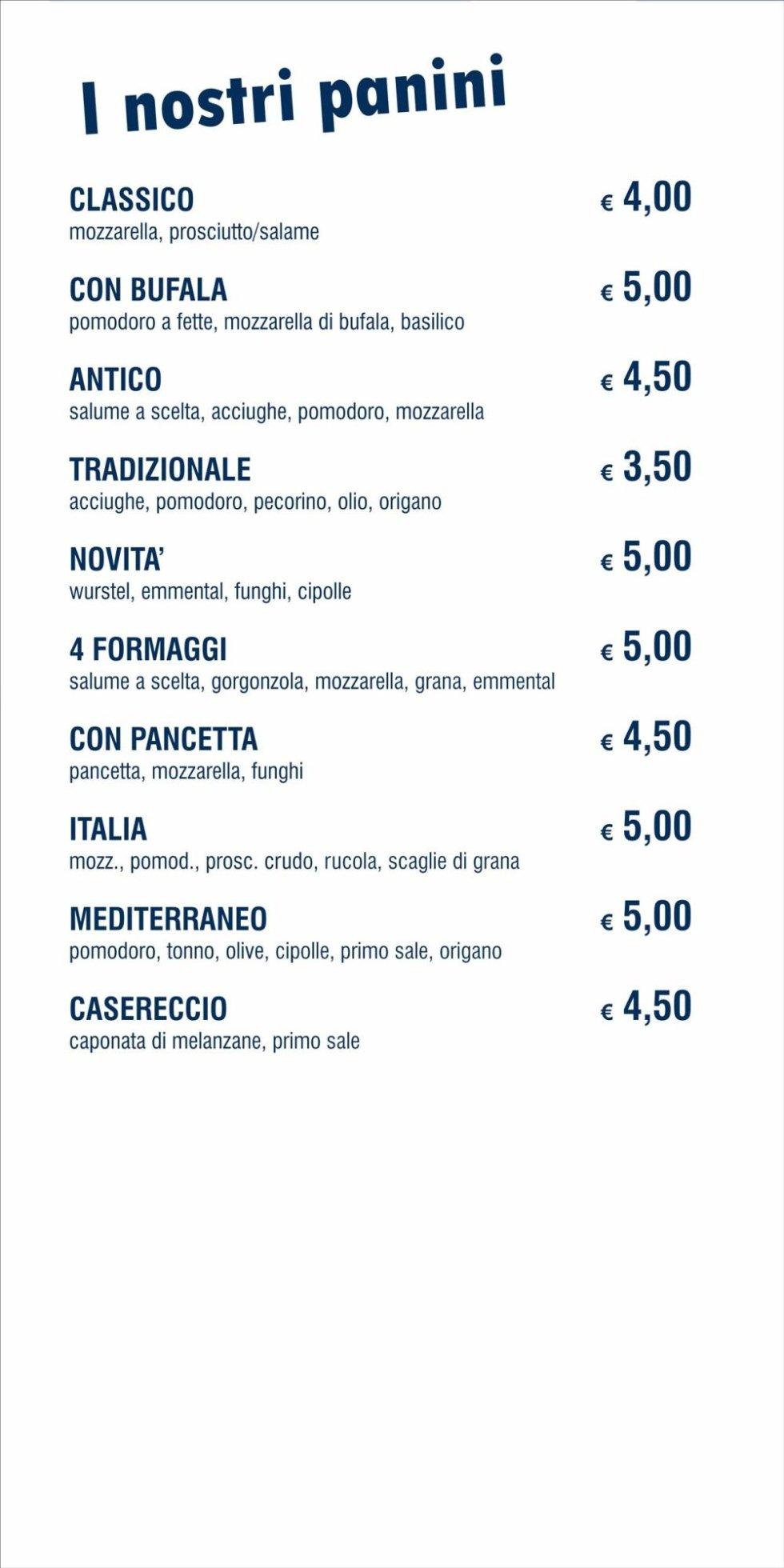 menù panini