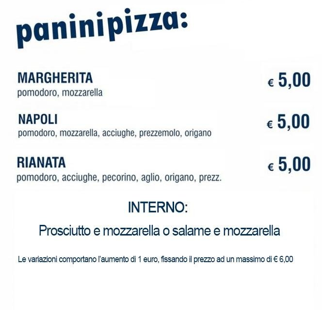 menù paninipizza