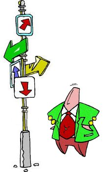 clipart of a confused man standing at a crossroads at the bottom of a many arrowed sign post