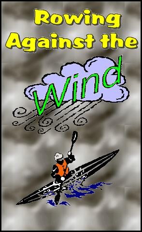 clipart of a kayaker struggling against the wind