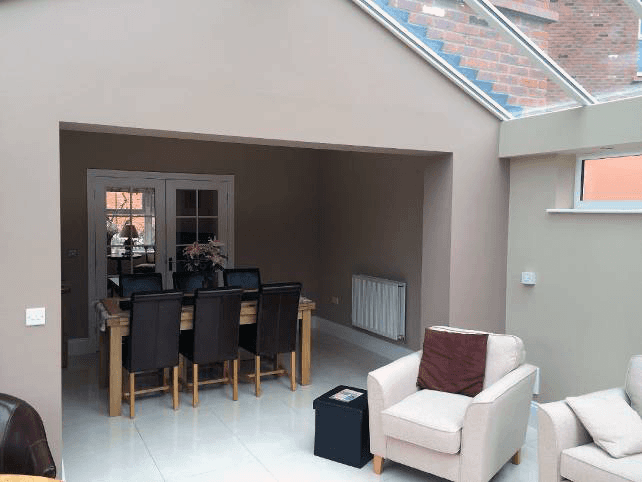 A garage converted into a dining room
